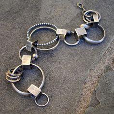 Plata pulsera pulsera de eslabones martillado por lsueszabo