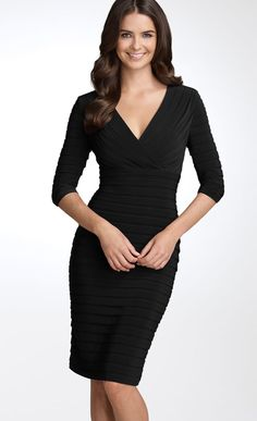 Perfect for: Boyish Figures, Curvy Shapes, Busty Women, Hiding a Tummy, Broad Shoulders  The texture in this dress is great for creating a bit more cleavage in boyish figures. The deep V is very flattering for curvy shapes and busty women. The texture at the tummy hides a muffin top really well and the deep V also minimizes broad shoulders.