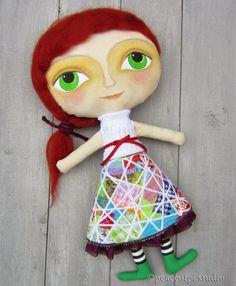 peaceofpi studio: Cloth Art Doll with Big Eyes
