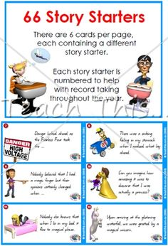 Story Starters - 66 Cards - Printable Alphabet, Grammar, Writing and Reading Teacher Resources :: Teacher Resources and Classroom Games :: Teach This