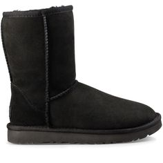 Ugg ® Classic Short Ii Short Suede Boot ($160) ❤ liked on Polyvore featuring shoes, boots, ankle booties, black, suede ankle booties, suede boots, ugg, black ankle booties and black boots