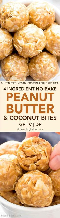 4 Ingredient No Bake Peanut Butter Coconut Energy Bites (V, GF): a quick 'n easy One Bowl recipe for tasty protein-packed energy bites bursting with peanut butter and coconut! #Vegan #ProteinRich #GlutenFree #DairyFree #WholeGrain | BeamingBaker.com