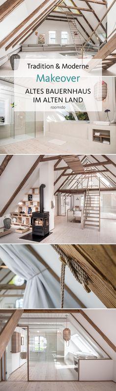 Heller Dachgeschossumbau mit offener Balkendecke im umgebauten Bauernhaus im alten Land bei Hamburg! #interior #interiordesign #landhaus