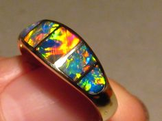 Lyle - The Best Gem Grade Crystal Opal Inlay Ring 14kt Gold