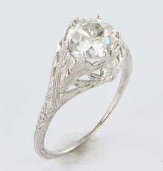 #SGWeddingGuide:  Art Deco Diamond Filigree 18k Gold Engagement Ring Vintage Estate Wedding Fine Old Heirloom Pre Owned Used Jewelry