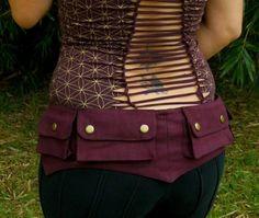 Large - Burgundy Cotton Canvas Pixie Pockets - Saddlebags - hip belt - Vegan - Belt with pockets. $55.00, via Etsy.