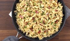 easy fettuccine- make with salted water instead of chicken broth, omit bacon and make with broccoli, peas, a few noodles and more parm. Add Bacos bits, extra parm, chives and more frozen broccoli and cauliflower. Add spinach to the sauteed onions.