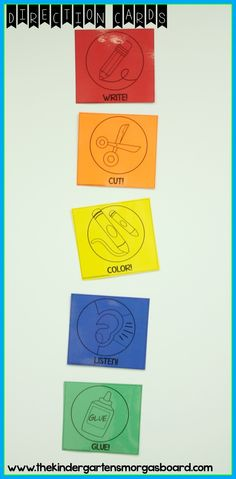 FREE direction cards printed on Astrobrights papers bring fun colors into the classroom!