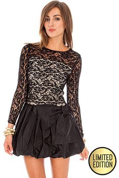 Goddiva Limited Edition Long Sleeve Lace Puff Ball Dress £38.00 #goddivafashion #limitededition