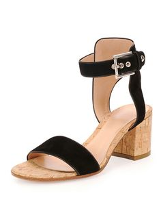 0b7da8b55 Cork-Heel Suede City Sandal by Gianvito Rossi at Neiman Marcus. Bergdorf  Goodman