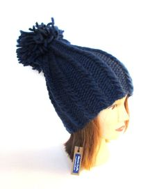 Pom pom hat  navy hat for women  handknit hat  by Johannahats
