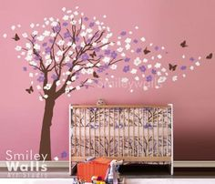 Cherry-Blossom-Flowers-Tree-and-Butterflies-Wall-Decal-for-Nursery-Kids-Room-Art