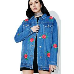 Rose Patch Denim Jacket ($85) ❤ liked on Polyvore featuring outerwear, jackets, embroidered jacket, distressed denim jacket, oversized denim jacket, blue jackets and oversized jean jacket