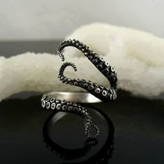 octopus ring | tentacles Ring | Black silver, gunblack | Sea Jewelry | monsters