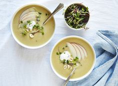 CELERY ROOT & PINK LADY APPLE SOUP WITH YOGURT, TOASTED HAZELNUTS & MICROGREENS — SK