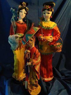 Set of 3 Vintage Oriental Chinese Asian Dolls by LittleBitsBazaar on Etsy