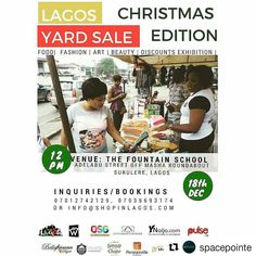 Repost via @spacepointe #LagosYardSale   We are partnering with @shopinlagos and other brands to enable merchants get ahead in their business  Sales = more money = more profit = expansion = more staff  Sign up for a stall or simply come do your Christmas shopping with ease  #madeinnigeria #buynigerianlabels #buynigerian #Regrann #pos #entrepreneur #cashless #nigerian #lagos #lagosevent #whattodoinlagos #shopping #lagosyardsale #bargains #partnership #Christmas #family #fun #womeninbusiness…