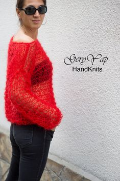 Hand knitted long hair mohair red lightweight womens sweater hand made boho style gift for her Sweater Knitting Patterns, Hand Knitting, Loose Knit Sweaters, Boho Style, Hippie Boho, Boho Fashion, Gifts For Her, Sweaters For Women, Long Hair Styles