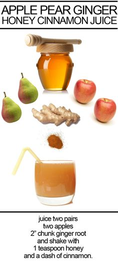A natural energy boost: freshly pressed Apple + Pear + Ginger + Honey + Cinnamon Juice.
