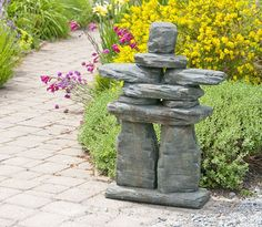 Stained ornamental concrete monument statue for garden or outdoor patio. Stained ornamental concrete monument statue for garden or outdoor patio. Unique Garden Decor, Outdoor Garden Decor, Unique Gardens, Rock Garden Design, Japanese Garden Design, Outdoor Statues, Small Garden Statues, Diy Garden Projects, Landscaping With Rocks