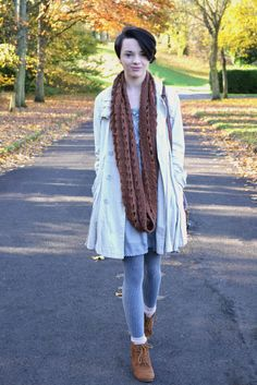 A Trickle of Meaning, blogger wearing our Grey Cotton Day Dress.  Check out her blog here:- http://www.atrickleofmeaning.com/