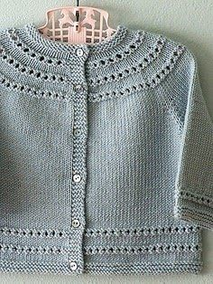 Eyelet Yoke Baby Cardigan by Carole Barenys - currently on the needles. Eyelet Yoke Baby Cardigan by Carole Barenys - currently on the needles. , Eyelet Yoke Baby Cardigan by Carole Barenys - currently on the needles. Knitting For Charity, Knitting For Kids, Baby Knitting Patterns, Baby Patterns, Free Knitting, Knitting Basics, Knitting Wool, Cardigan Bebe, Knitted Baby Cardigan