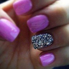 #nails #glitter #purple