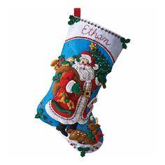 Bucilla Original Bota Navideña Traditional Santa Navidad