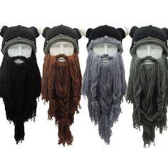 GuRus - Fashion Hats Knit Viking Beard Horn Hat Crazy Ski Cap Barbarian Beanie Halloween UK - Brand Name: hirigin Vikings Halloween, Halloween Uk, Halloween Cosplay, Winter Hats, Cool Beanies, Viking Beard, Long Beards, D 20, Vikings