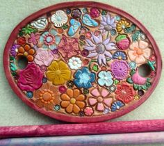 Leather Hair Barrette with Colorful Flowers and by galeatherlady
