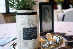 """""""Words+Pictures"""" party theme -- from my Grandpa's 80th Birthday"""