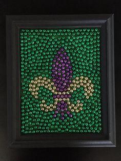 Fleur de Lis Mardi Gras Bead Art by JerseyBelle927 on Etsy