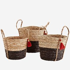 Madam Stoltz - Large Seagrass Wicker Basket With Handles And Tassels - Natural/Black/Red Wicker Baskets With Handles, Large Baskets, Storing Towels, Storage Baskets, Boho Decor, Color Pop, Straw Bag, Tassels, At Least