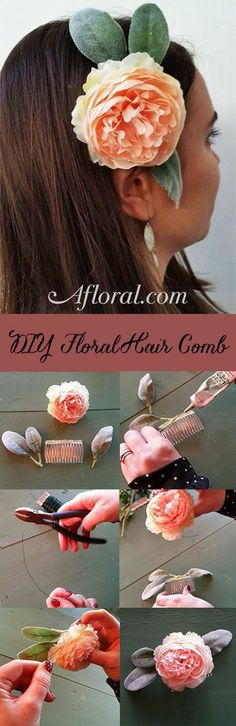DIY Hair Comb.  This simple DIY hair comb is beautiful and budget friendly!  Pick a high-quality faux flower from Afloral.com, like this gorgeous Ranunculus Spray in Pink Cream, add some lambs ear, and Voila!  The perfect hair accessory for a night out or your Boho wedding!