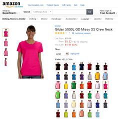 """Gildan 5000L GD Missy SS Crew Neck. 100% cotton jersey (blended cotton/polyester in antique and heather colors) 5.3-oz. seamless double needle feminine 1/2"""" rib mid-scoop neck side seams with slightly tapered missy fit taped neck and shoulders double-needle sleeve and bottom hems quarter-turned to eliminate center crease cap sleeves sizes: S-3XL"""