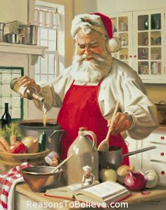 "Santa, cooking with wine!  So, the secret to his ""jolliness"" revealed once and for all!"