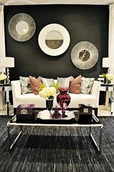 Living Room Style... Rug, dark walls, contrast furniture... Should try some other colors for mine though. by lynette