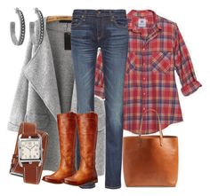 """Ruter, denim, cognac-farget skinn og grått."" by inger-lise on Polyvore featuring rag & bone, Frye, Madewell, Hermès and House of Harlow 1960"