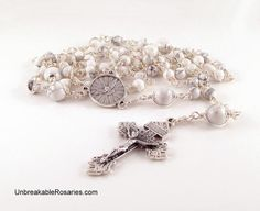 Unbreakable Holy Spirit Rosary Beads In White Magnesite