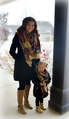 In Stock Plaid blanket scarf for mommy and me by BrynNicholle