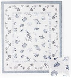 Embroidered Seashell Throw Blanket - Seashell Beach Blue