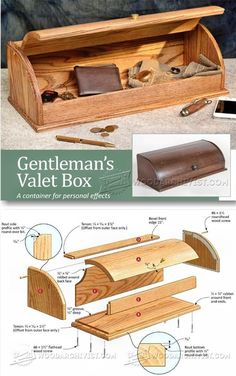 Valet Box Plans - Woodworking Plans and Projects - Woodwork, Woodworking, Woodworking Plans, Woodworking Projects Woodworking Furniture Plans, Woodworking Workbench, Easy Woodworking Projects, Woodworking Classes, Woodworking Machinery, Woodworking Workshop, Popular Woodworking, Easy Wood Projects, Project Ideas