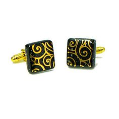 Check out the deal on Gold Swirl Murano Glass Cufflinks at Cufflinks Depot