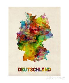 Germany Watercolor Map (Deutschland) Photographic Print by Michael Tompsett at AllPosters.com