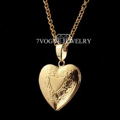 New Valentines Gift Romantic Heart Pendant Necklace Women Jewelry 18K Real Gold Plated Chain Locket Necklaces & Pendants P318