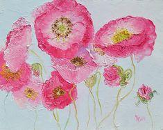 Poppies, pink poppies, Flower art, home decor, designer decor, interior design, living room art, floral