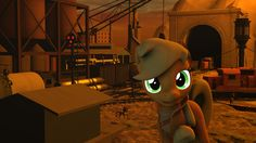 #1581892 - 3d, applejack, artist:tonkano, clothes, factory, industrial, jacket, ministry of wartime technology, missiles, mountain, safe, smiling, source filmmaker, trains, warehouse - Derpibooru - My Little Pony: Friendship is Magic Imageboard