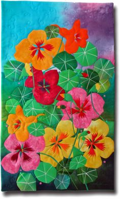 Nasturtiums: MELODY JOHNSON this would be awesome with some of the flowers stuffed for dimension