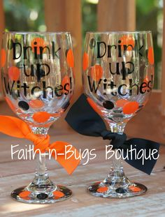 Drink Up Witches- Halloween Wineglass- Perfect for your Halloween party or just a Girl's night out.