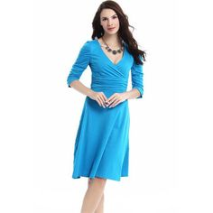 Bohemian Aquamarine Dress    This wonderful an elegant new-boho style is ideal for any occasion, v-neckline, long sleeves with a gathered design that gives elegance to your style, semi-skater skirt knee length. Cotton, Polyester-spandex Style yours with strappy sandals, heels or your favorite flats.